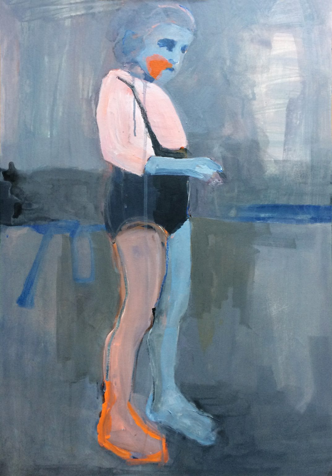 Girl with Orange Foot 70 x 48 cm acrylics on canvas #SOLD